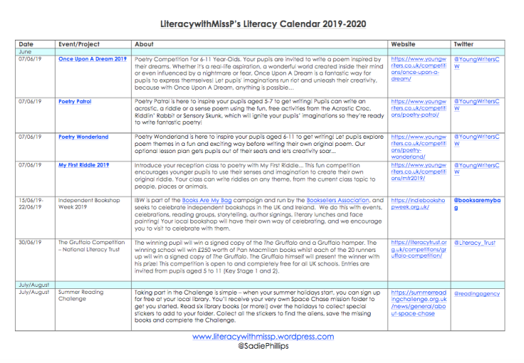 LIteracy with Miss P's Literacy Calendar 2019-2020