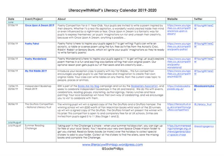 LIteracy with Miss P's Literacy Calendar 2019-2020